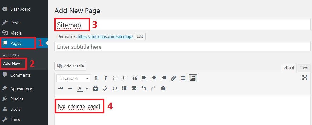 membuat halaman sitemap html